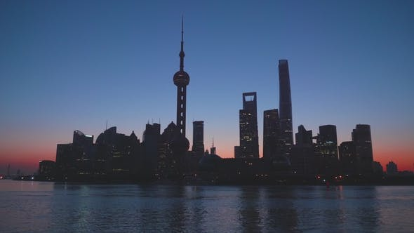 Cover Image for Shanghai Silhouette in the Early Morning. Lujiazui Financial District Silhouette. China