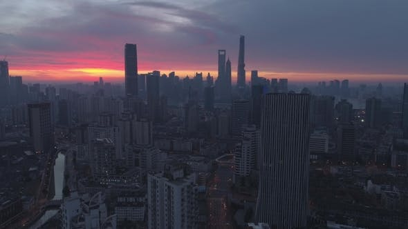Thumbnail for Panoramic Aerial View of Shanghai Skyline at Twilight. China. Drone Is Flying Upward