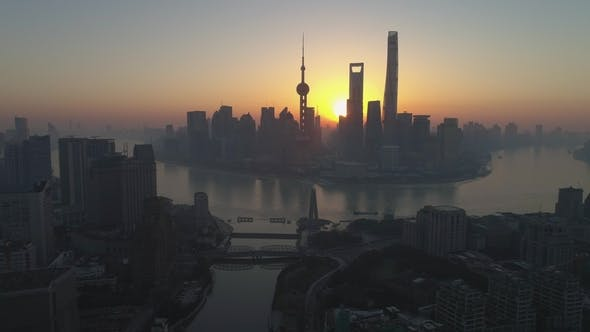 Thumbnail for Shanghai Skyline in the Sunny Morning. Lujiazui District. China. High Altitude Aerial View