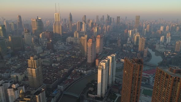 Thumbnail for Shanghai Skyline in the Sunny Morning. Puxi District. China. Aerial High Altitude View