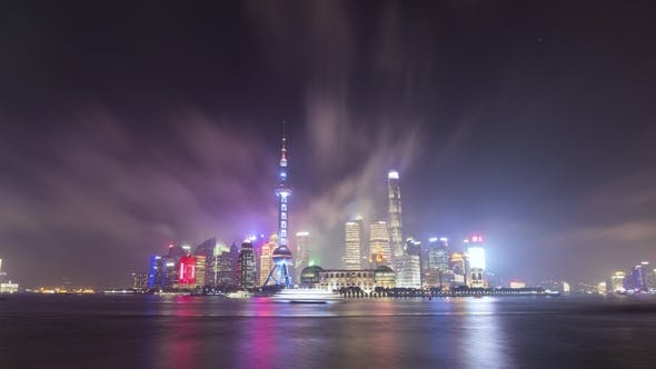 Thumbnail for Lujiazui Business District at Night. Shanghai Skyline. China