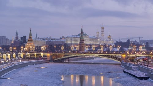 Moscow Kremlin and Moscow River in Frosty Winter Morning. Russia