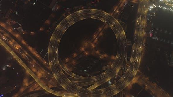 Thumbnail for Circular Illuminated Elevated Nanpu Highway at Night - Shanghai, China