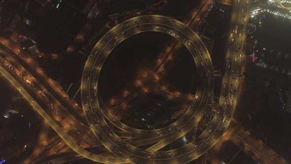 Thumbnail for Circular Illuminated Elevated Nanpu Highway at Night - Shanghai, China