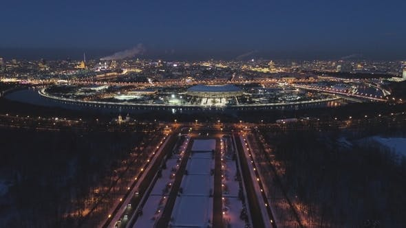 Thumbnail for Moscow Cityscape and Luzhniki Stadium in the Evening