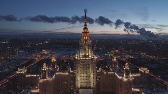 Thumbnail for Moscow State University and Illuminated Moscow Skyline at Winter Evening
