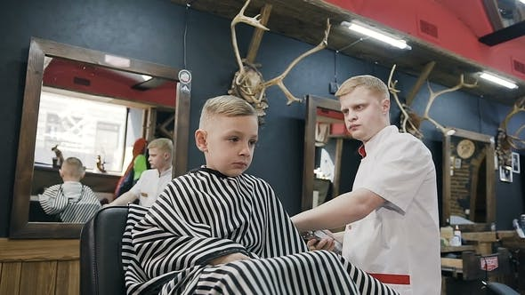 Thumbnail for Boy 5-6 Years Old in Barbershop. Professional Barber Doing a New Haircut for Little Boy