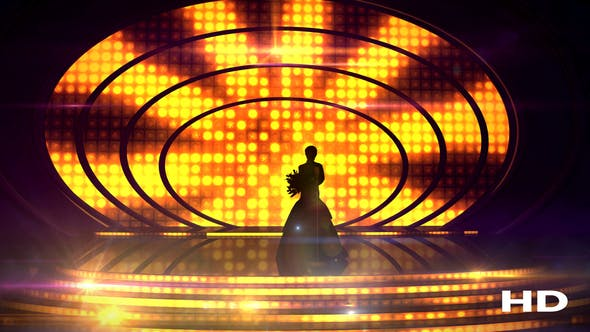Thumbnail for Female Silhouette On Stage Against The Festive Illumination