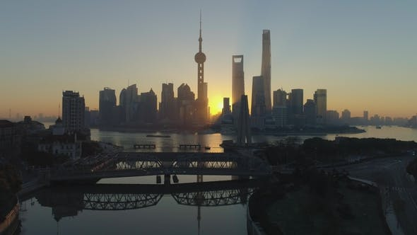 Thumbnail for Panoramic Shanghai Skyline and Waibaidu Bridge at Sunrise