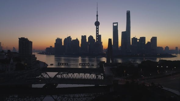 Thumbnail for Panoramic Shanghai Skyline at Dawn Lujiazui District and Huangpu River China Aerial View