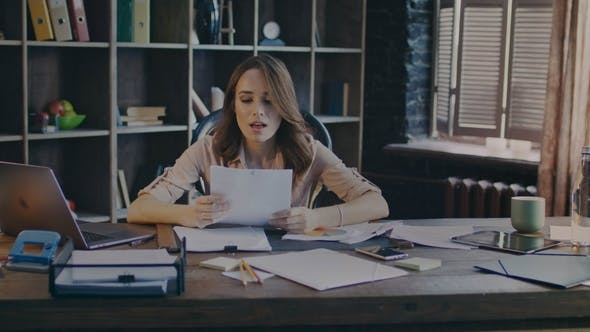 Thumbnail for Business Woman Reading Report Document. Business Documents Work. Data Analysis