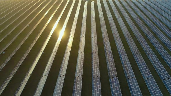 Thumbnail for Large Field of Blue Photovoltaic Solar Panels at Sunset. Aerial View. Flying Sideways