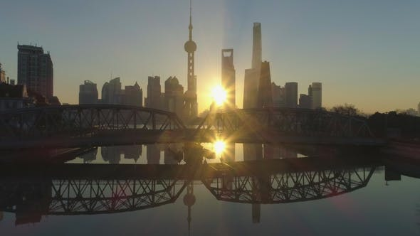 Thumbnail for Shanghai Skyline at Sunrise at the Sunny Morning. China. Aerial View