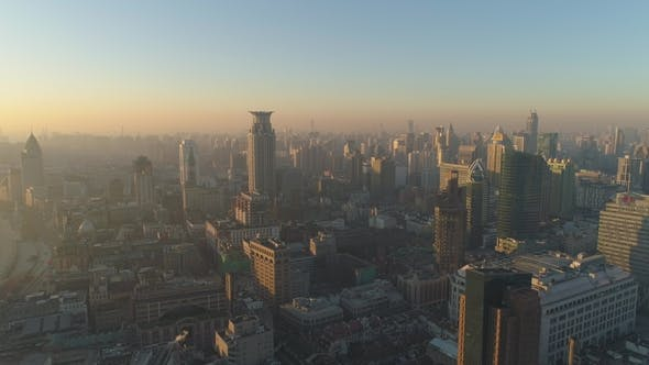 Cover Image for Shanghai Skyline in the Morning Haze China Aerial View