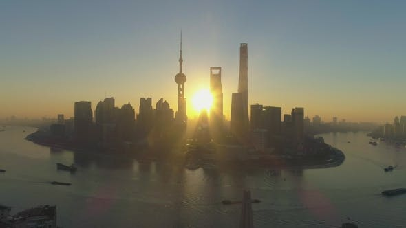 Thumbnail for Shanghai Cityscape  at Sunrise, Aerial View