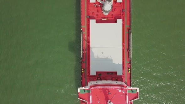 Thumbnail for Aerial Shot of Big Ship in Sea