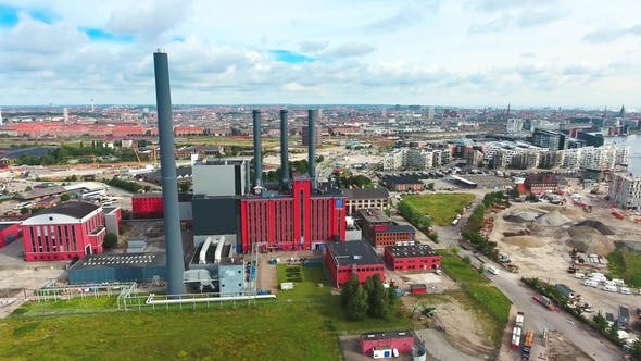 Thumbnail for City Aerial View Over Copenhagen HC Oersted Power Station