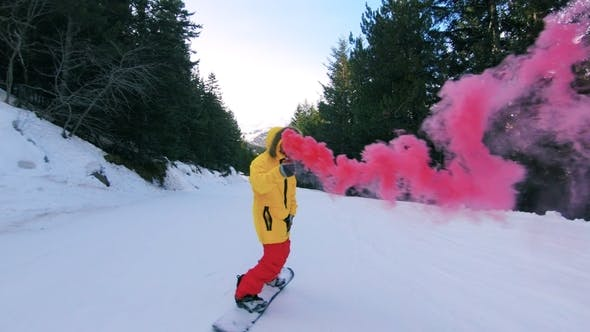 Thumbnail for Snowboard Rider with Smoke Bomb on Mountain Slope