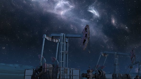 Move Along Oil Pump Jacks Under Night Sky