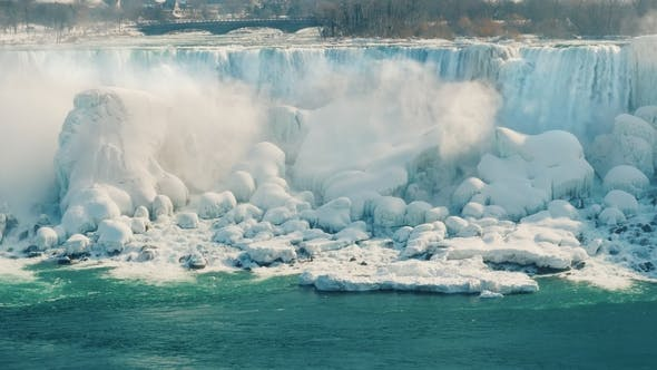 Thumbnail for American Shore with Waterfalls. a Popular Tourist Destination - Niagara Falls in the Winter Season