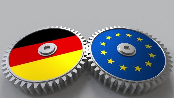Thumbnail for Flags of Germany and the European Union on Meshing Gears