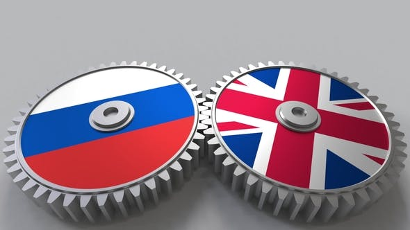 Thumbnail for Flags of Russia and The United Kingdom on Meshing Gears