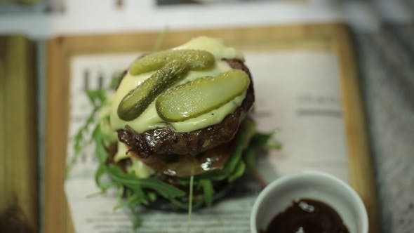 Thumbnail for Restaurant Green Burger Cooking Food, Meat, Barbecue, Grill, Hamburger, Burger, Bbq, Beef,