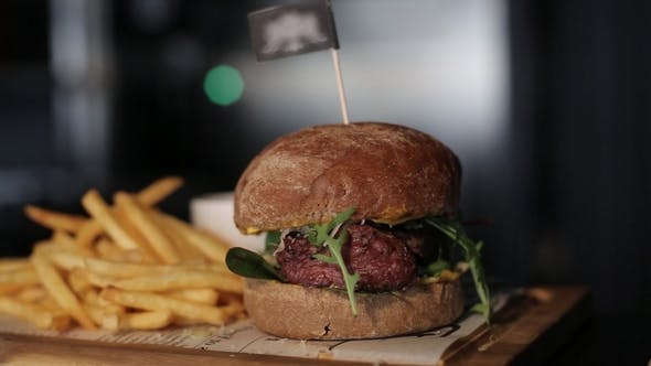 Thumbnail for Restaurant French Fries and Burger Cooking Food, Meat, Barbecue, Grill, Hamburger, Burger, Bbq, Beef