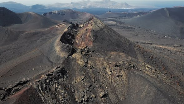 Taking of Over Volcanoes Near Timanfaya Park, Lanzarote, Canary Islands