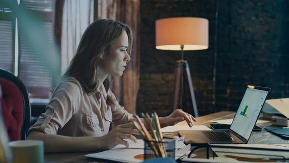 Thumbnail for Business Analytics. Business Woman Working on Laptop. Laptop Working