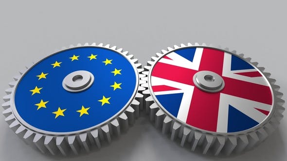 Thumbnail for Flags of the European Union and The United Kingdom on Meshing Gears