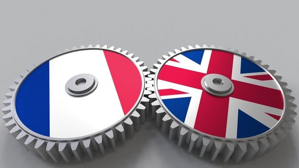 Flags of France and The United Kingdom on Meshing Gears