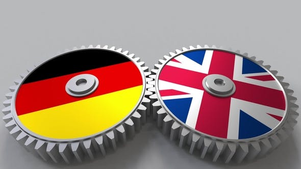 Flags of Germany and The United Kingdom on Meshing Gears