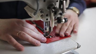 Leather Sewing with a Sewing Machine. Sewing Machine