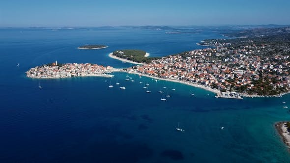 Thumbnail for Flying over Resort of Adriatic Town Primosten in Croatia