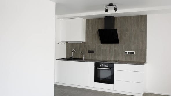 Thumbnail for Camera Is Moving Inside a New Repaired Kitchen Room in Modern Apartment, Trendy Design