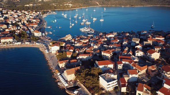 Thumbnail for Sunset Flying Over Resort Adriatic Town Primosten, Croatia.