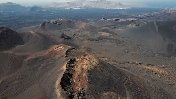Taking Off Over Volcanoes Near Timanfaya Park, Lanzarote, Canary Islands