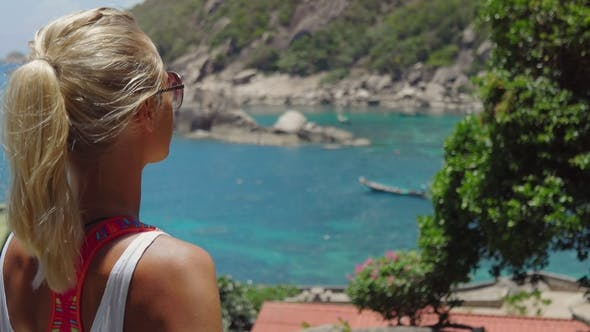 Tanned Sporty Female Admire the Gorgeous Tanote Bay on Sunny Day. Light Ocean Breeze Ocean Breeze