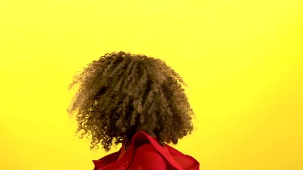 Thumbnail for Mulatto Girl Makes Flies Hair. Yellow Background.