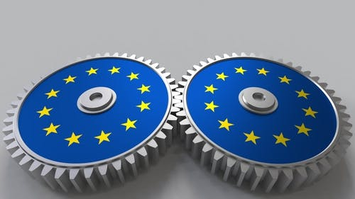 European Project Flags of the EU on Moving Cogwheels