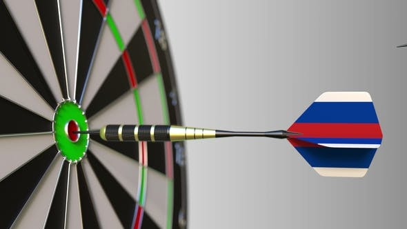Thumbnail for Flags of the United Kingdom and Russia on Darts Hitting Bullseye of the Target
