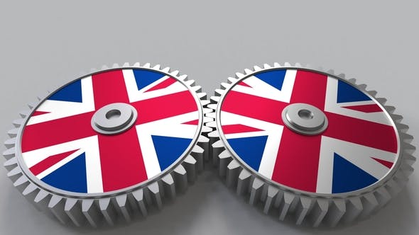 Cover Image for British National Project Flags of the United Kingdom on Moving Cogwheels