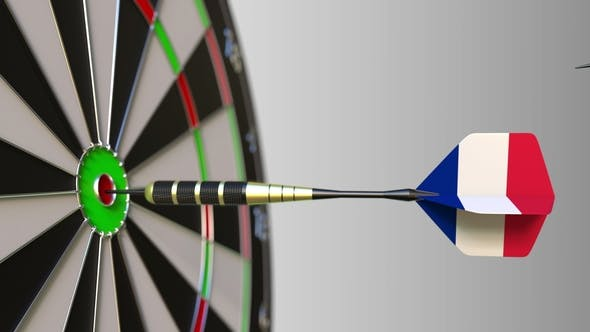 Thumbnail for Flags of the European Union and France on Darts Hitting Bullseye of the Target