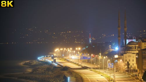 Midnight Mosque and City Lights