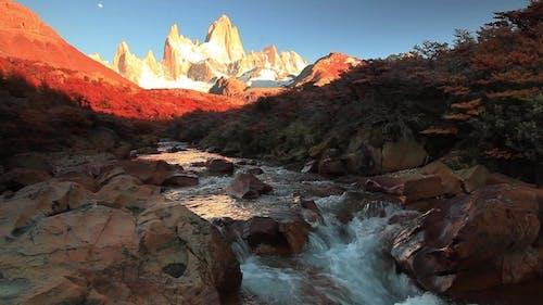 Mountain River and Mount Fitz Roy. Patagonia