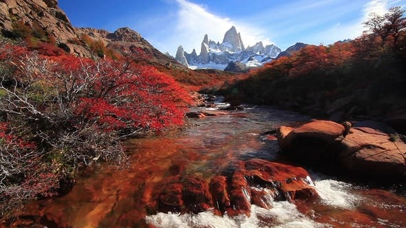 Mountain River and Mount Fitz Roy in Patagonia