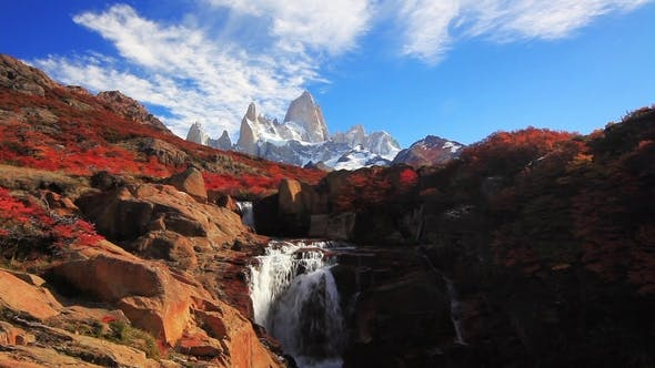 Thumbnail for Beautiful View with Waterfall and Fitz Roy Mountain. Patagonia