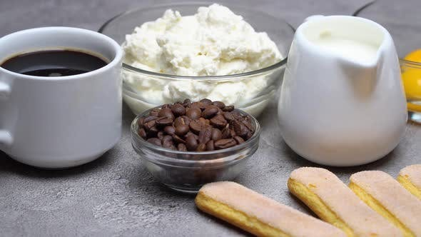Cover Image for Ingredients for Cooking Tiramisu Savoiardi Biscuit Cookies, Mascarpone, Cream, Sugar, Cocoa