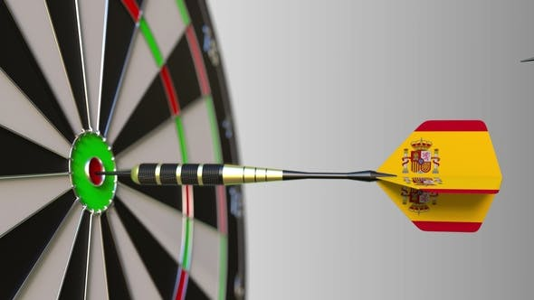 Thumbnail for Flags of the United Kingdom and Spain on Darts Hitting Bullseye of the Target